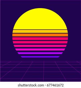Retrowave sun background