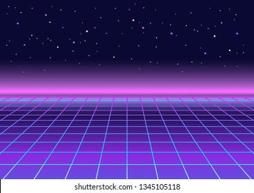 Retrowave, synthwave, rave, vapor party background. Light grid landscape. Yesterday's tomorrow. Retro, vintage 80s, 90s style. Black, purple, pink, blue colors. Banner, print, wallpaper, web template