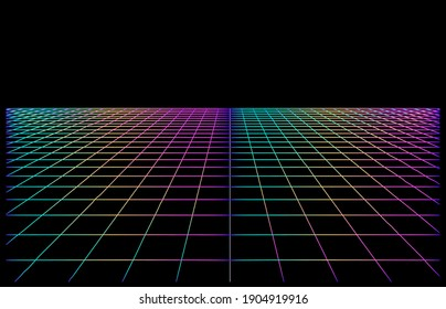 Retrowave and synthwave style background with neon laser grid extending to the horizon.