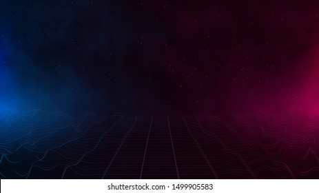 Retrowave / synthwave / vaporwave cyber landscape laser grid with pink and blue fog and glows on both sides in starry space. VHS effect. Vector. Eps 10
