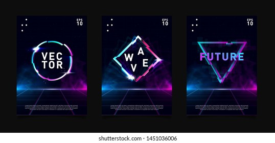 Retrowave / vaporwave / synthwave posters set. Circle, triangle and rhombus with glitch effect, laser grid and highlights. Design for poster, flyer, cover, brochure, card, club invitation. Eps 10