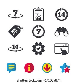 Return of goods within 7 or 14 days icons. Warranty 2 weeks exchange symbols. Browser window, Report and Service signs. Binoculars, Information and Download icons. Stars and Chat. Vector