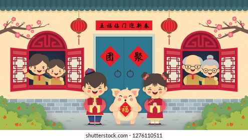 Return home, 2019 chinese new year greeting card. Chinese cartoon family in flat vector illustration. (caption: Reunion ; five blessing come knocking at your door to celebrate new year)