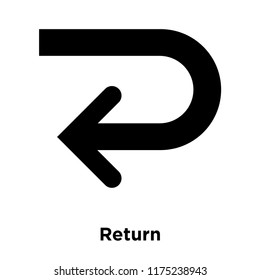 Return icon vector isolated on white background, logo concept of Return sign on transparent background, filled black symbol