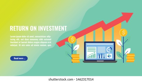 Return on investment concept illustration. Business analytics, stack of money, arrows and graph stats. Thick line style banner. Trendy vector placard with text and button
