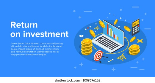 Return on investment concept vector illustration in isometric design. ROI business marketing background. Profit or financial income strategy web banner.