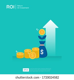Return on investment design vector illustration. Profit opportunity concept. business growth arrows to success. arrow with dollar plant coins, graph and chart increase.