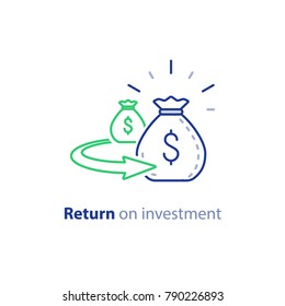 Return on investment, finance consolidation, budget planning, savings account, income growth, long term investment, refinancing concept, vector line icon