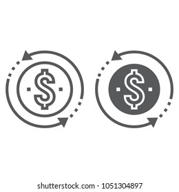 Return on investment line and glyph icon, development and business, money back sign vector graphics, a linear pattern on a white background, eps 10.
