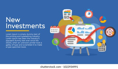 Return on investment, ROI, Business, profit. Investment attraction case studies and analysis. Profit schedule. Business icons in a modern flat style. Vector illustration.