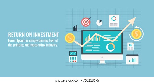 Return on investment, ROI, Business, profit, flat vector conceptual banner illustration with icons isolated on blue background