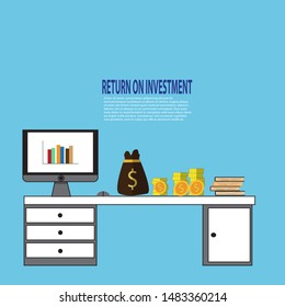 Return on investment ROI with coins, money bag with computer on the table. Investment income, net profit, up schedule, the successful turnover of invested funds. The concept of increasing profits.