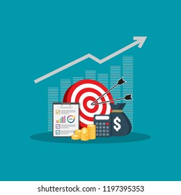 Return on investment ROI concept. business growth arrows to success vision. dollar stack pile coins and money bag. chart increase profit. Finance stretching rising up. banner flat style vector