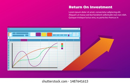 Return on investment ROI. office things for planning and accounting, analysis, audit, project management, marketing, research. for promotion , cover poster, infographic,  landing page, persentation