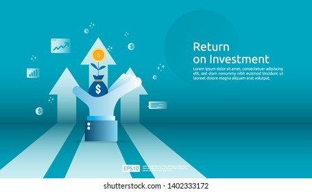 Return on investment ROI, profit opportunity concept. business growth arrows to success. grow dollar coin plant money bag on big investor hand with increase chart graph. business banner illustration.