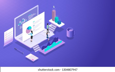 Return on investment ROI. Teamwork Businessman working on financial calculations and statistics analysis, managing financial chart, marketing research and calculation tax return-payment Vector