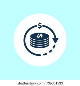Return on Investment Vector Icon, Financial services, cash back concept, money refund, return on investment, savings account, currency exchange, vector line icon