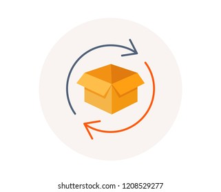 Return parcel icon. Exchange of goods sign. Package tracking symbol. Distribution or delivery parcel. Return box package. Colorful exchange icon. Post office vector