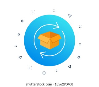 Return parcel icon. Exchange of goods sign. Package tracking symbol. Distribution or delivery parcel. Return box package, post office. Random dynamic shapes. Gradient return parcel button. Vector