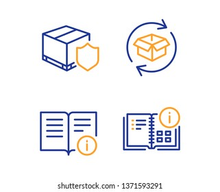 Return parcel, Technical info and Delivery insurance icons simple set. Instruction info sign. Exchange of goods, Documentation, Parcel protection. Project. Industrial set. Linear return parcel icon