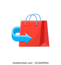 Return policy  sign. Exchange of goods icon. Free Return package illustration.