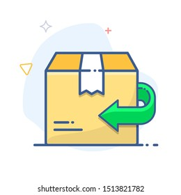Return policy  sign. Exchange of goods line icon. Return arrow and delivery box illustration.