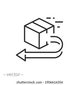 return or replace order icon, package delivery policy, exchange product, box goods back away, refund thin line symbol on white background - editable stroke vector illustration eps10