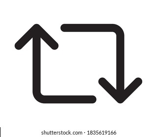 Retweet arrows symbol flat vector icon for apps and websites