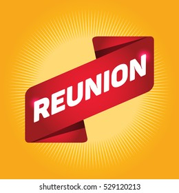 REUNION arrow tag sign.