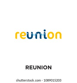 reunion logo isolated on white background for your web and mobile app design , colorful vector icon, brand sign & symbol for your business, reunion icon concept
