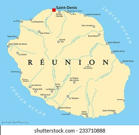 Reunion Political Map with prefecture Saint-Denis, important cities and rivers. English labeling and scaling.