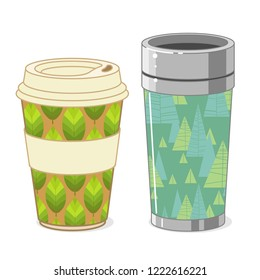 Reusable coffee cups on white background. Vector hand drawn illustration