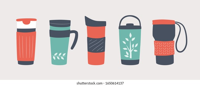 Reusable cups, thermo mug and tumblers with cover. Different designs of thermos for take away coffee. Set of vector illustrations in flat and cartoon style