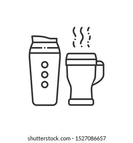 Reusable glass coffee and tea cup line black icon. Thermos for take away. Zero waste lifestyle. Eco friendly. Sign for web page, app, promo. UI/UX/GUI design element. Editable stroke.