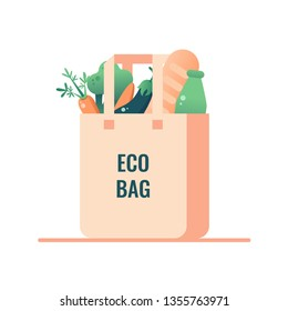 Reusable grocery eco bag with vegan food isolated from white background. Zero Waste (Say no to plastic) concept. Vector
