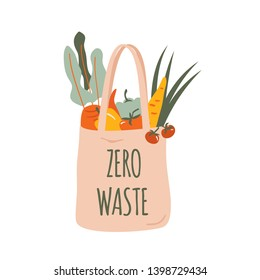 Reusable grocery eco bag with vegetables isolated from white background. Zero Waste (Say no to plastic) and food concept. Vector
