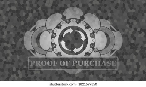 reusable icon and proof of purchase text grey stone wall realistic emblem. Rock classic background. Artistic illustration.