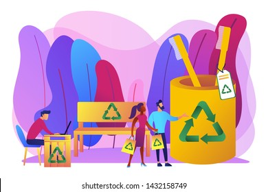 Reusable items, non-recyclable material alternatives. Waste free wood products, salvaged plywood products, secondary wood using concept. Bright vibrant violet vector isolated illustration