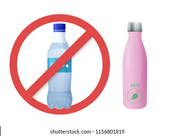 Reusable water bottle instead of plastic bottle. Zero waste tips. Eco and healthy lifestyle. Stop using plastic