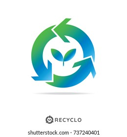 reuse icon. letter o logo. recycle with leaf symbol. zero waste concept. vector illustration.