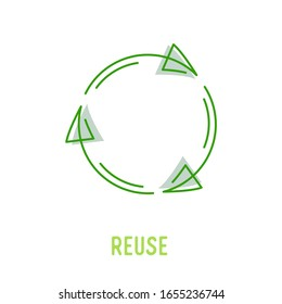 Reuse Sign with Green Rotate Arrows in Linear Style Isolated on White Background. Garbage Recycling and Reusing Icon, Ecology Conservation, Sustainability, Conscious Litter Renew Vector Illustration