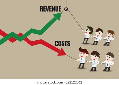 Revenue and Costs, Businessman accelerate business growth