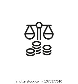 Revenue and expenses line icon. Scale, balance, stacks of coins. Budget concept. Can be used for topics like capital, finance, equity