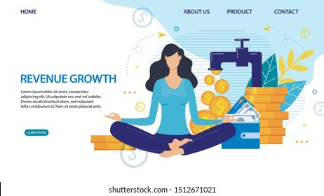 Revenue Growth. Passive Income. Landing Page Flat Design with Woman Meditating and Waiting for Profit Increase. Cartoon Tap with Falling Gold Coins. Wallet with Cash. Vector Illustration