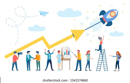 Revenue growth, Successful Startup, Teamwork, Office workers are working to increase revenue. Conceptual vector illustration for banners, posters, Social Media Advertising.