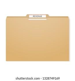 Revenue report binder. Manila folder papers archive.