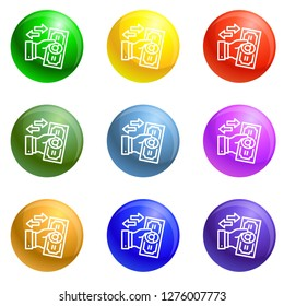 Reverse bribery icons vector 9 color set isolated on white background for any web design