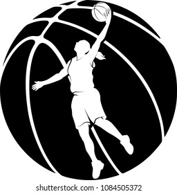Reverse highlighted silhouette of a female basketball player making a layup with a silhouette of a basketball for a background.
