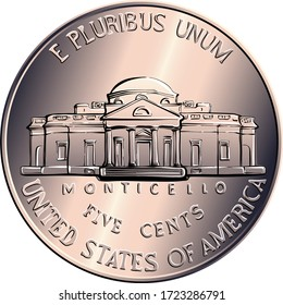 Reverse of Jefferson nickel, American money, USA five-cent coin, US third President Thomas Jefferson on obverse and his house Monticello on reverse