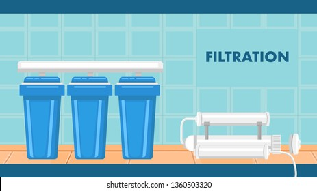 Reverse Osmosis Filtration System Flat Web Banner. New Modern Filters in Bathroom. Potable Water Purification Equipment Cartoon Vector Illustration. Drinkable Liquid Treatment Cartridges